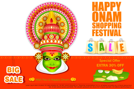 face off: easy to edit vector illustration of Onam shopping festival