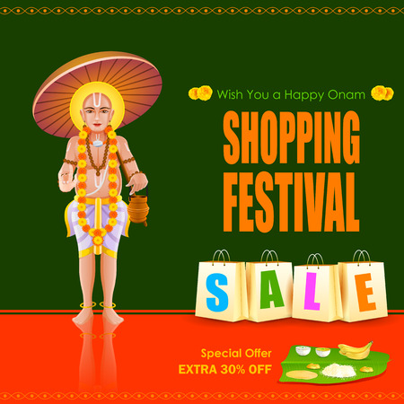 mahabharata: easy to edit vector illustration of King Mahabali in Onam shopping festival