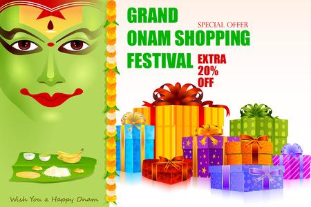 malayalam: easy to edit vector illustration of Onam shopping festival