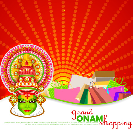 onam: easy to edit vector illustration of Onam shopping festival