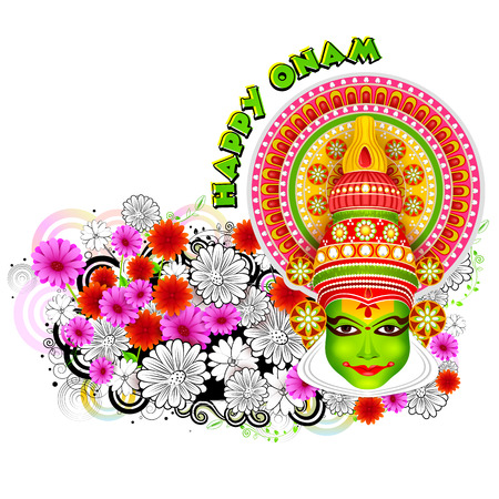 theatrical dance: easy to edit vector illustration of Happy Onam background
