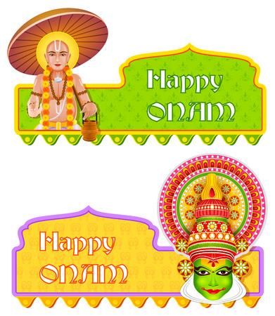 malayalam: easy to edit vector illustration of Happy Onam background