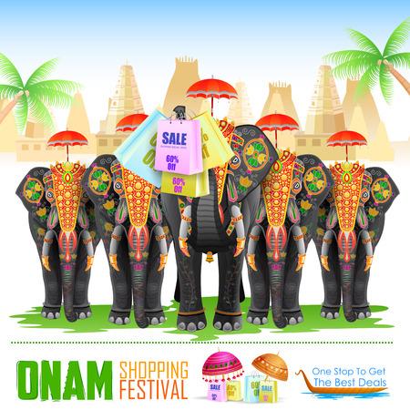ELEFANTE: fácil de editar ilustración vectorial de elefante decorado para Happy Onam Vectores