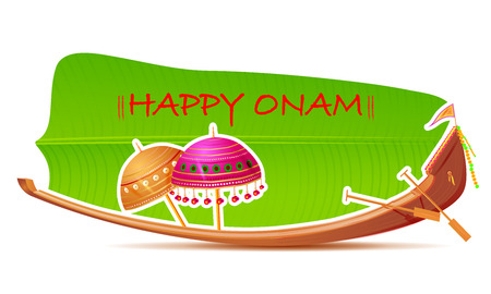banana leaf: easy to edit vector illustration of Happy Onam Background