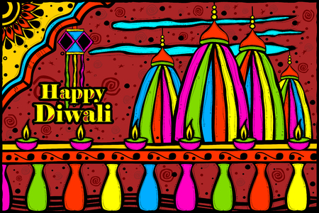 dipawali: easy to edit vector illustration of temple on Diwali backdrop in Indian art style background