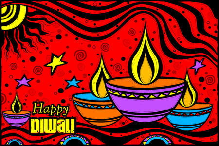 easy to edit vector illustration of Happy Diwali diya in Indian art style background