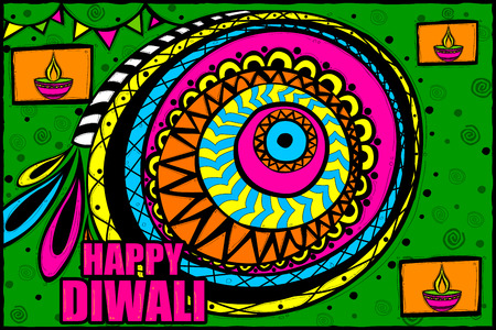 dipawali: easy to edit vector illustration of Happy Diwali background in Indian art style