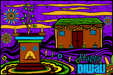 tulsi: easy to edit vector illustration of decorated house for Diwali in Indian art style background