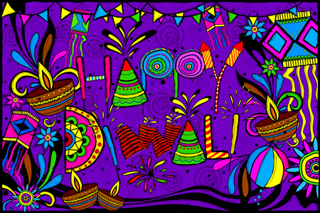 festive occasions: easy to edit vector illustration of Happy Diwali background in Indian art style
