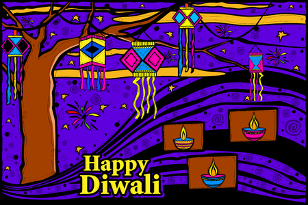 dipawali: easy to edit vector illustration of Diwali sky lamp in Indian art style background Illustration