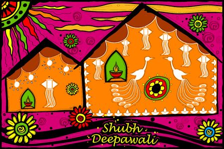shubh: easy to edit vector illustration of decorated house with message Shubh Deepawali, Happy Diwali in Indian art style background Illustration