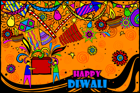 diwali: easy to edit vector illustration of kids playing with firecracker in Diwali in Indian art style background