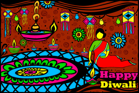 auspicious: easy to edit vector illustration of Lady making Rangoli for Diwali in Indian art style background Illustration