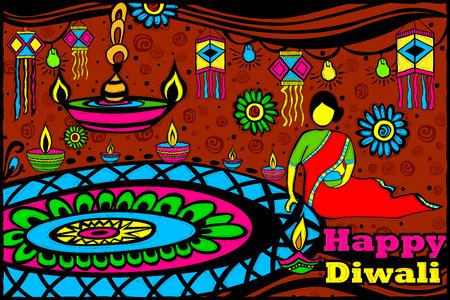 rangoli: easy to edit vector illustration of Lady making Rangoli for Diwali in Indian art style background Illustration
