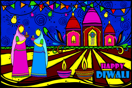 dipawali: easy to edit vector illustration of women with Diwali diya in Indian art style background