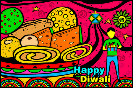 indian sweet: easy to edit vector illustration of boy with Diwali gift and sweets in Indian art style background