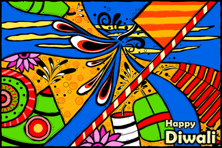 auspicious occasions: easy to edit vector illustration of Happy Diwali background in Indian art style