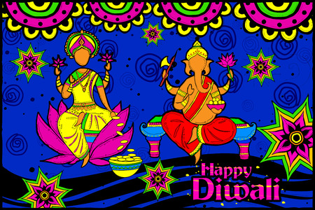 lord: easy to edit vector illustration of Lakshmi and Ganesha for Happy Diwali in Indian art style background
