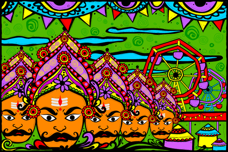 lila: easy to edit vector illustration of Ravana monster for Dussehra in Indian art style background