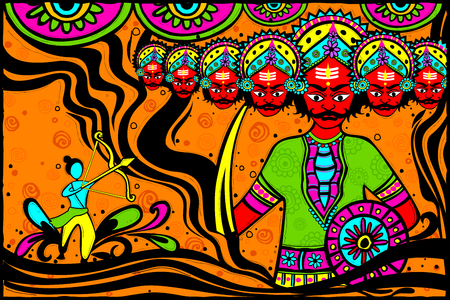 occassion: easy to edit vector illustration of Rama killing Ravana for Dussehra in Indian art style background Illustration