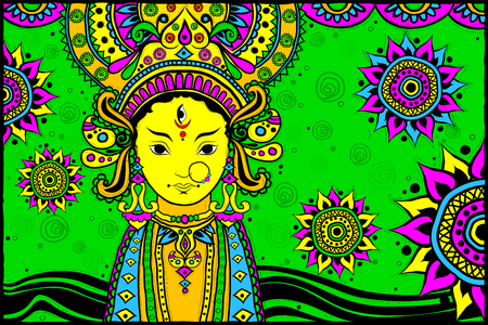auspicious element: easy to edit vector illustration of face of Goddess Durga for Happy Dussehra Indian art style background Illustration