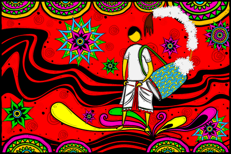 puja: easy to edit vector illustration of drummer with dhak for Happy Durga Puja Indian art style background