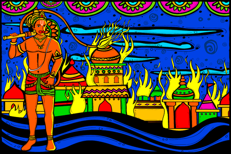 ramayana: easy to edit vector illustration of Lord Hanuman Lanka Dahan for Happy Dussehra in Indian art style background Illustration