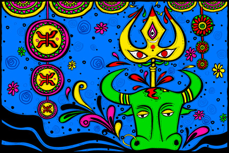navratri: easy to edit vector illustration of wishes for Durga Puja in Indian art style background