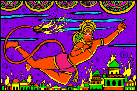 ramayan: easy to edit vector illustration of Lord Hanuman Lanka Dahan for Happy Dussehra in Indian art style background Illustration