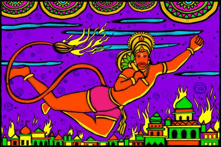ramayan: easy to edit vector illustration of Lord Hanuman Lanka Dahan for Happy Dussehra in Indian art style background Illustration