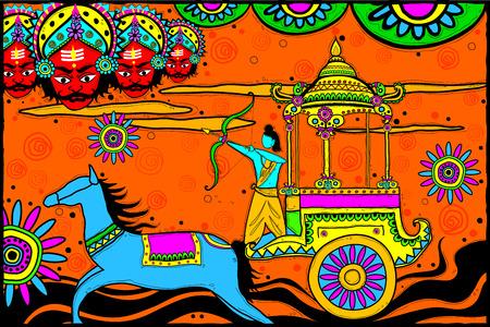killing: easy to edit vector illustration of Rama killing Ravana for Dussehra in Indian art style background Illustration