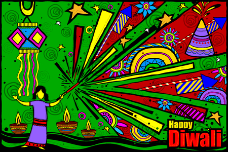 firecracker: easy to edit vector illustration of kids playing with firecracker in Diwali in Indian art style background