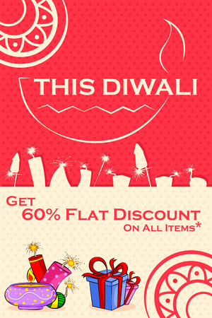 diwali: Happy Diwali discount sale promotion offer banner in vector