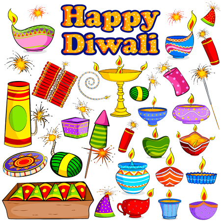 dipawali: Happy Diwali celebration object in vector Illustration