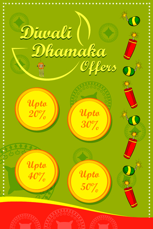 auspicious occasions: Happy Diwali discount sale promotion offer banner in vector