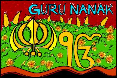 sikhism:  vector illustration of Happy Guru Nanak Jayanti background