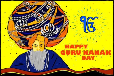 indian old man: vector illustration of Happy Guru Nanak Jayanti background Illustration