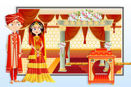 vector illustration of Indian wedding couple. Stock Photo