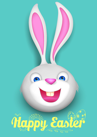 easter rabbit: illustration of bunny in Happy Easter background