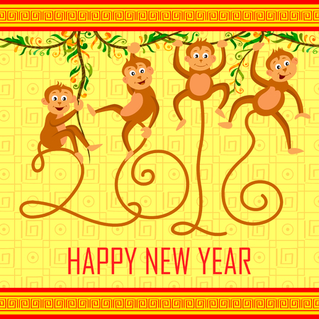 editable sign: illustration of Happy Chinese New Monkey Year 2016 celebration background Illustration