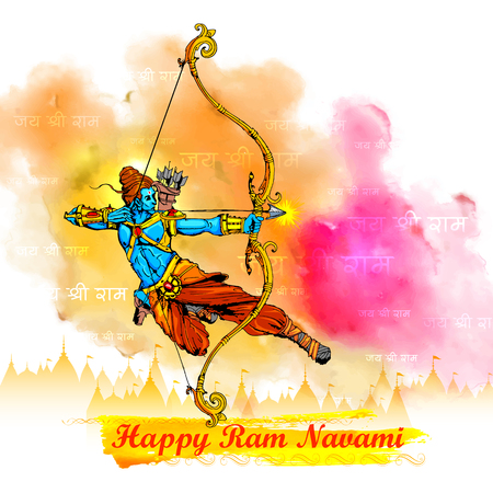 rama: illustration of Lord Rama with bow arrow killing Ravana in Ram Navami Illustration