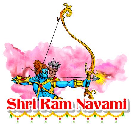 killing: illustration of Lord Rama with bow arrow killing Ravana in Ram Navami Illustration