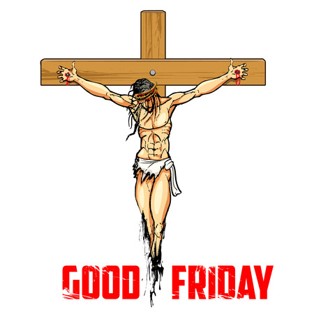 worship: illustration of Jesus Christ on cross on white background for Good Friday