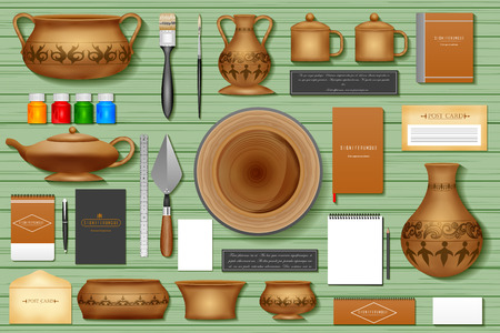 earthenware: easy to edit vector illustration of identity branding mockup for pottery