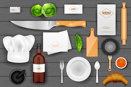 fine dining: easy to edit vector illustration of identity branding mockup for chef Illustration
