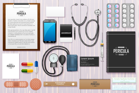 a tablet blister: easy to edit vector illustration of identity branding mockup for doctor Illustration