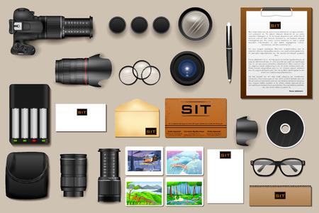 illustration editable: easy to edit vector illustration of identity branding mockup for photography Illustration