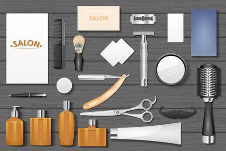 masculinity: easy to edit vector illustration of identity branding mockup for barber Illustration