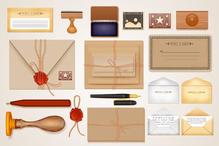 easy to edit vector illustration of identity branding mockup for postal service