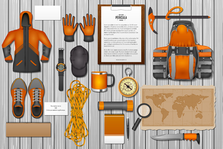 easy to edit vector illustration of identity branding mockup for mountaineering Illustration